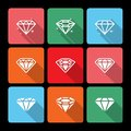 Diamond icons set com sombra longa Fotos de Stock Royalty Free