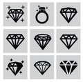 Diamond icons vector black set on gray Stock Image