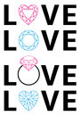Diamond love vector with hearts and gemstones set Royalty Free Stock Image