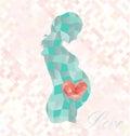 Diamond pregnant woman mit herzen im bauch Stockfotos