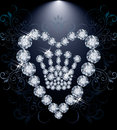 Diamond Queen crown and heart Royalty Free Stock Photo