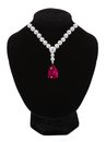 Diamond and ruby necklace on black mannequin isolated on white Royalty Free Stock Photo
