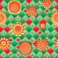 Diamond shape bring ray flower seamless pattern