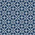 Diamond shape flower inside symmetry japan blue seamless pattern
