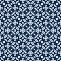 Diamond shape flower inside symmetry japan blue seamless pattern Royalty Free Stock Photo