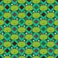 Diamond shape line frog head seamless pattern