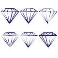Diamond symbols set vector illustration hand drawn Stock Image