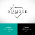 Diamond vector icon set in line style. Logo design.
