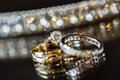 Diamond and Wedding Rings Royalty Free Stock Photo