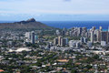 Diamondhead and the city of Honolulu on Oahu on a nice day Royalty Free Stock Photo