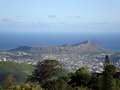 Diamondhead and the city of Honolulu on Oahu on a nice day viewe Royalty Free Stock Photo