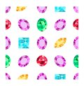 Diamonds or brilliants seamless pattern. Gemstone pattern. Vector illustration. Flat design gemstone. Pattern can be