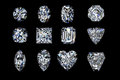 Diamonds gems set on a black background Royalty Free Stock Photo