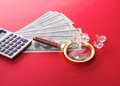 Diamonds and money are on the table Royalty Free Stock Photo