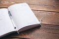 Diary on the desk book brown wooden Stock Image