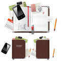 Diary open and closed and office supplies Royalty Free Stock Image