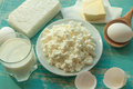 Diary products - milk, cottage cheese, butter and eggs - on a wooden surface Royalty Free Stock Photo