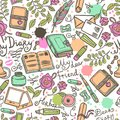 Diary seamless pattern hand drawn with herbarium love letter and scrapbooking art vector illustration Royalty Free Stock Photos
