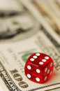 Dice and banknotes dollar very shallow dof Stock Photos