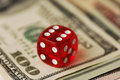 Dice and banknotes dollar very shallow dof Royalty Free Stock Photography