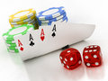 Dice chips and cards on a white background Royalty Free Stock Photos