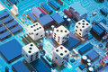 Dice on Circuit Boards Royalty Free Stock Image