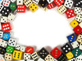 Dice with copy space frame made from inside Royalty Free Stock Images