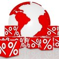 Dice discount around the earth Stock Photography