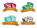 Dice with gold banners Royalty Free Stock Photography