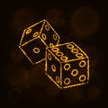 Dice icon silhouette of lights. Casino symbol Royalty Free Stock Photo