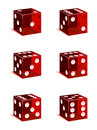 Dice icons a set of red casino every face included Stock Photography