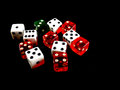 Dice Multiple Red White and Single Green colored Royalty Free Stock Photo