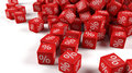 Dice percentage a group of red with percent sign Stock Image