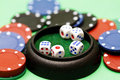 Dice and poker chips Royalty Free Stock Photography