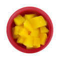Diced mangos in dish a top view of a serving of a red on a white background Royalty Free Stock Images