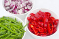 Diced peppers, onion and mange tour Royalty Free Stock Photography