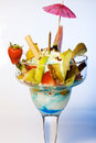 Diced tropical fruit with frozen ice cream Stock Photography