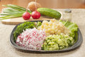 Diced vegetables chopped raw for a variety of salads and okroshka Royalty Free Stock Photo