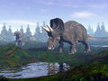 Diceratops dinosaurs in mountain d render two walking to water the by morning light Royalty Free Stock Photos