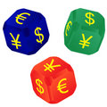Dices with currency signs Stock Images