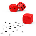 The dices d generated picture of three red one loses dots Stock Image