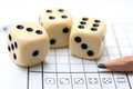 Dices game board of yatzy with score paper pencil and dice Royalty Free Stock Photography
