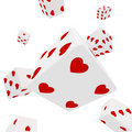 Dices in hearts Stock Images