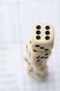 Dices tower on score board of the social game of yatzy Stock Photos
