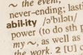 Dictionary definition of word ability