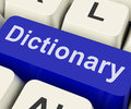 Dictionary Key Shows Online Or Web Definition Reference Royalty Free Stock Photo