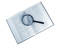 Dictionary magnifying glass with the Stock Images