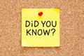Did You Know Handwritten On Sticky Note