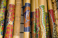 Didgeridoo close up of wooden australian wooden musical instruments Royalty Free Stock Photos