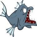Diepe watervissen. Roofdier. Beeldverhaal Royalty-vrije Stock Afbeeldingen